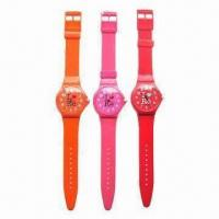 Buy cheap Colorful Promotional PU Strap Watches with 3.8cm Case Diameter from wholesalers
