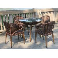 Buy cheap 5-pieces Outdoor Rope Dining Sets Strapping Weave PVC Ribbon Patio Furniture from wholesalers