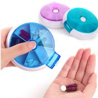 Buy cheap Round Shape Weekly Plastic Pill Box 7 Day Portable Pill Box Pill Dispenser from wholesalers