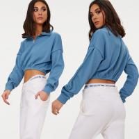 Buy cheap Zip front crop sweater long sleeves blue from wholesalers