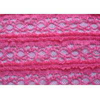 China Delicate Pink Crocheted Lace Fabric Stretch In Ladies Garment , Shrink-Resistant on sale