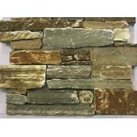 China Brown And Yellow Cultured Stone Panels With Cement Backed / Concrete Backed on sale