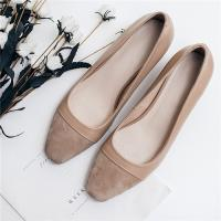 Buy cheap Cow Suede Office Ladies Shoes , Cap Toe Womens Low Heel Pumps Apricot Color from wholesalers