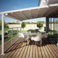 China Remote Control Retractable Garden Awning Alunimium Gazebo Side Screen With Led Lights on sale