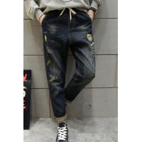 Buy cheap Mens Relaxed Fit Tapered Straight Leg Jeans With Elastic Waist Shredded Ripped from wholesalers