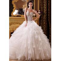 Buy cheap Custom Size Layered Organza Empire Line Wedding Dresses , Strapless Sweetheart Bridal Gowns from wholesalers