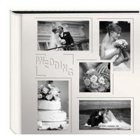 "Buy cheap Collage Frame Embossed ""Wedding"" Sewn Leatherette Cover Photo Album, Ivory product"