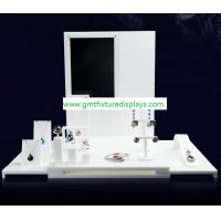 Buy cheap White Acrylic CounterJewelry Display Set for Showcase Foldable Plexiglass Jewellery Stand With Back Panel from wholesalers