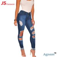 Buy cheap Eco - Friendly Ripped Jeans For Girls , Mid Waist Female Ripped Jeans from wholesalers