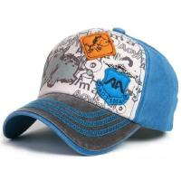 Buy cheap Light Brushed Blue Velcro Closure Cotton Baseball Caps For Kids With 4 Eyelets from wholesalers
