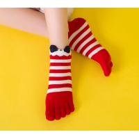 Buy cheap Custom logo, design Womens Girls Striped Cotton Five Fingers Toe Ankle Socks from wholesalers