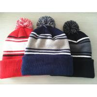 Buy cheap Hand Printing Lined Pom Pom Hat , Crochet Pattern Knitted Pom Pom Beanie Hat from wholesalers