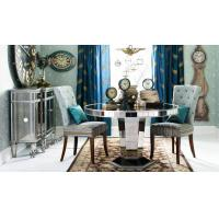 Buy cheap 29 Inch Round Glass Kitchen Table , Mirror Round Glass Dining Table Wood Base from wholesalers