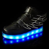 China Recharheable Baby Kids Wing Sneakers Walking Shining LED Shoes with Wing Light up on sale