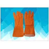 Buy cheap Disposable Medical Gloves Orange Color Latex Exam Gloves , Dip Flock - Lined Style Non Powdered Gloves from wholesalers