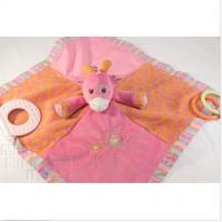 Buy cheap 100% Organic Cotton Giraffe Stuffed Animal Blanket , Pink Baby Breathable Security Blanket from wholesalers