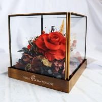 Buy cheap 12.5*12.5*12.5CM Preserved Rose Glass Dome For Anniversary Party from wholesalers