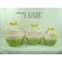 Eco Friendly Green Garden Ceramic Pots / Basket Plant Pot With Handle 12 X 11.3 X 14 Cm