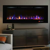 Buy cheap wall mounted fireplace 50 long linear colorful flame effect touch panel front heating for living room from wholesalers