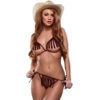 Buy cheap Bareback Rider Cowgirl Lingerie Party Adult Costumes Bra and G-string Brown from wholesalers