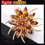 Buy cheap Big Flower Crystal Golden Brooch Rhinestone Bride Wedding Scarf Dress Accessies Brooch from wholesalers