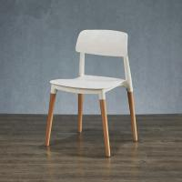 Buy cheap Contemporary Wooden Dining Chairs With White Plastic Sitting Surface from wholesalers