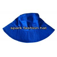 Buy cheap 100% cotton blue bucket cap with wide brim for summer from wholesalers