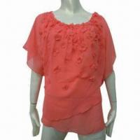 Buy cheap Fashionable Blouse Design for Women, Appliqued Women's Top Blouse for Summer from wholesalers
