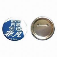 Buy cheap Tinplate button badge with safety pin, customized designs, various sizes from wholesalers