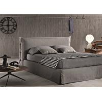 Buy cheap Contemporary Light Grey Upholstered Bed , Queen Platform Bed With Headboard from wholesalers