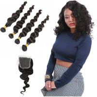 Buy cheap Natural Color Black Indian Virgin Remy Hair Extensions 4 Bundles Loose Wave from wholesalers