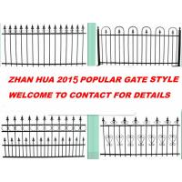 China black coated fence and gate,garden fence and gate,steel fence and gate with top spear on sale