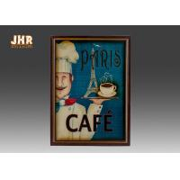 Buy cheap Blue Wall Hanging Plaques Coffee House Wall Decor Antique Wooden Wall Art Signs from wholesalers