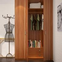 Bedroom Three Door Wood Color Wardrobe With Shelves