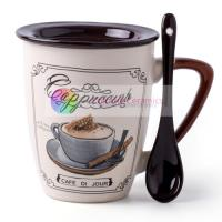 Buy cheap 350ml ceramic coffee mug with spoon with lid custom printed mugs пить кофе personalized coffee mugs design by decal from wholesalers