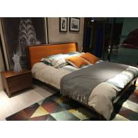 Buy cheap 2017 New design of  Leather Upholstered headboard Bed by Walnut wood frame for Young Apartment  bedroom furniture use from wholesalers