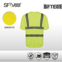 High vis bright color safety shirts with reflective tape , polyester birdeye