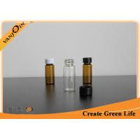Buy cheap 12ml Small Clear and Amber Glass Vials With Black Screw Plastic Caps , Mini Glass Container from wholesalers