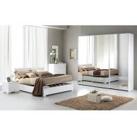 Contemporary White High Gloss Bedroom Furniture Sets 3 Door Sliding Wardrobe