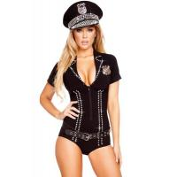 Buy cheap Wholesale Cop Robber Costumes Spandex Black Sexy Officer Bling Cop Costume for Halloween Christmas XXS to XXXL from wholesalers