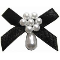 Buy cheap Vigorous black ribbon bow With Hanging Pearls , Durable mini satin bows from wholesalers