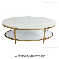 Buy cheap Oval Mable Top 125cm 57cm Stainless Steel Coffee Table For Living Room from wholesalers