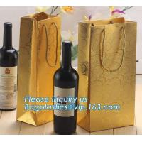 Buy cheap Printed Luxury Wide Base Brown Kraft Paper Carrier Bag,coating black luxury paper carrier bag for printing with ribbon from wholesalers