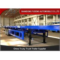 Buy cheap 2 axle Flat bed Container Semi Truck Trailer with twist lock air bag suspension from wholesalers
