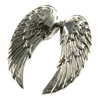 Buy cheap Double Winged Stainless Steel Heart Necklace, Eco-friendly Boys / Mens Stainless Steel Pendants For Gift from wholesalers