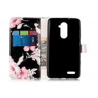 Buy cheap Scratch Resistance Pu Leather TPU Phone Case Black Color With Flower Printing For Iphone product