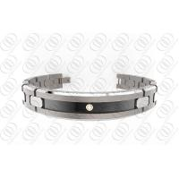 Buy cheap Ti2 Titanium Jewelry Magnetic Titanium Bracelets With Black Accent And Clear Crystal from wholesalers