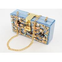Buy cheap Delicate Girls Acrylic Clutch Bag With Twinkling Diamond Crystal And Golden Lock from wholesalers