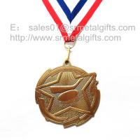 Buy cheap Custom metal blank engraved hockey medals with ribbon, antique brass plated, from wholesalers