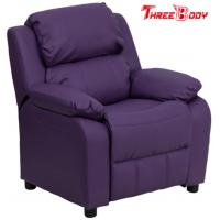 Buy cheap Comfortable Childrens Recliner Chair , Purple Vinyl Toddler Recliner Chair With Storage Arms from wholesalers